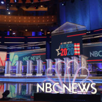 The stage set-up for the first Democratic debate (Marta Lavandier/AP)