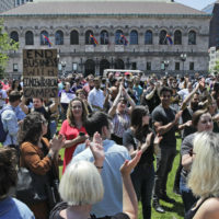 Wayfair employees and supporters rally at Copley Square in Boston on Wednesdays. (Charles Krupa/AP)