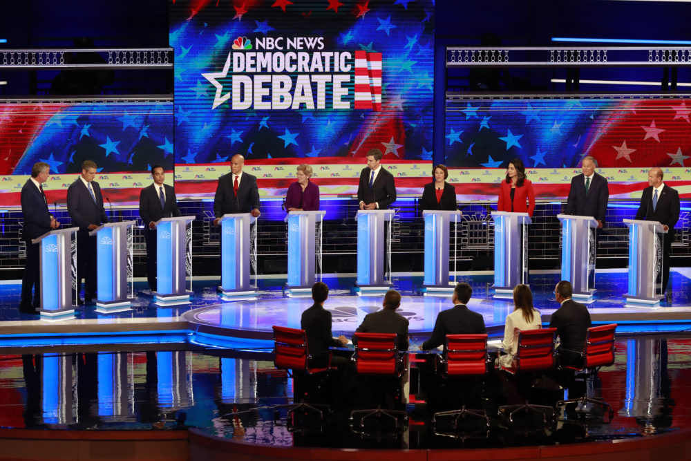 The Democratic presidential candidates field questions during the primary debate hosted by NBC News on Wednesday, June 26, 2019, in Miami. (Wilfredo Lee/AP Photo)