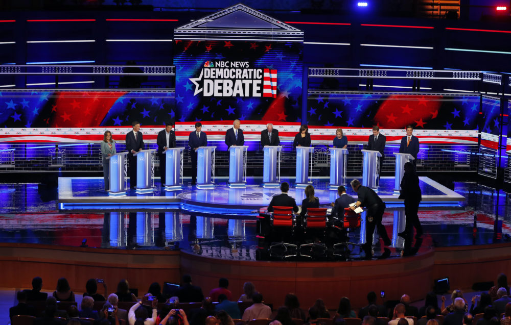 Democratic presidential candidates listen to a question during the Democratic primary debate hosted by NBC News at the Adrienne Arsht Center for the Performing Arts, Thursday, June 27, 2019, in Miami. (Wilfredo Lee/AP)