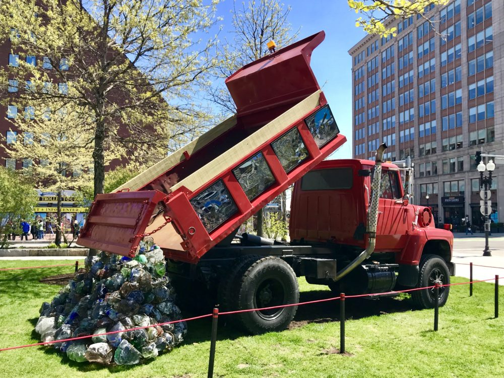 """Karl Unnasch works with stained glass to portray life in blue-collar America. His work for """"The Auto Show"""" recalls the work put in to the Big Dig. (Courtesy Rose Kennedy Greenway Conservancy)"""