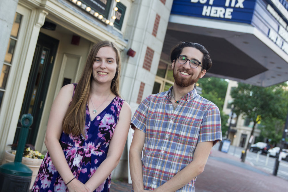 Boston Project playwrights Laura Neill and MJ Halberstadt outside rehearsal at the Calderwood Pavilion on the BCA Plaza in the South End. (Courtesy Paul Fox)