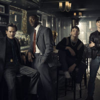 """Kevin Bacon as Jackie Rohr, Aldis Hodge as Decourcy Ward, Mark O'Brien as Jimmy Ryan and Jonathan Tucker as Frankie Ryan in """"City On A Hill"""" (Courtesy of Eric Ogden/Showtime)"""