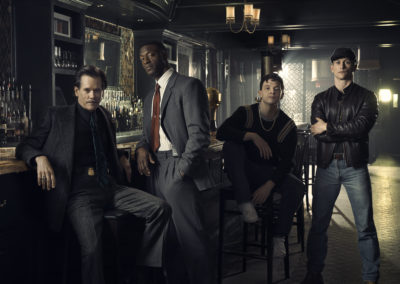 "Kevin Bacon as Jackie Rohr, Aldis Hodge as Decourcy Ward, Mark O'Brien as Jimmy Ryan and Jonathan Tucker as Frankie Ryan in ""City On A Hill"" (Courtesy of Eric Ogden/Showtime)"