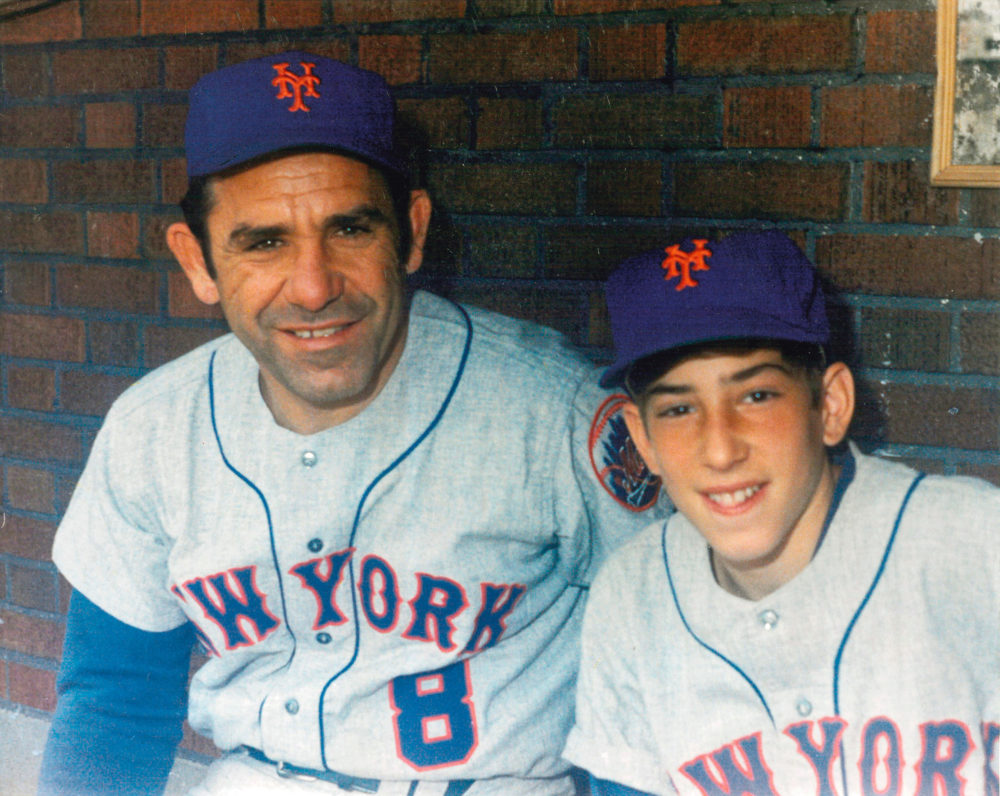 Dale Berra with his dad on the bench at Wrigley Field in 1970. (Courtesy Dale Berra)