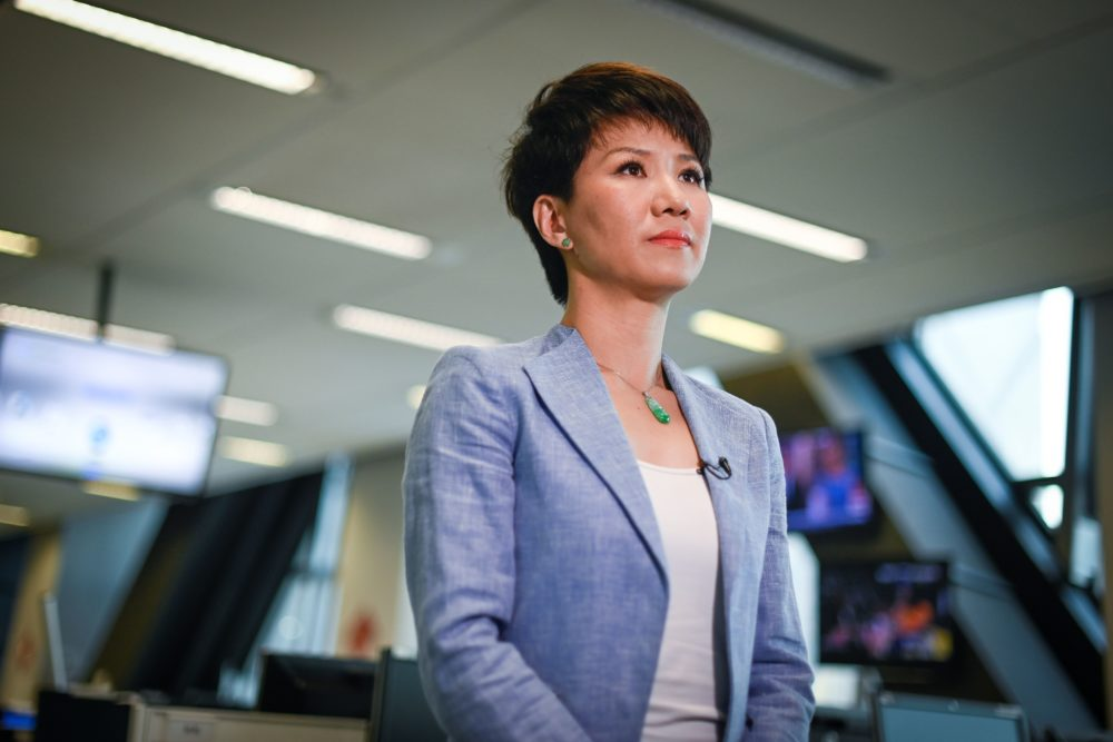 China's state broadcaster CGTN anchor Liu Xin attends an interview at the CCTV headquarters in Beijing on May 30. (Wang Zhao/AFP/Getty Images)