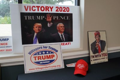 Pro-Trump merchandise adorns the recreation center where leaders of several Republican clubs hold meetings in The Villages, a retirement town in central Florida north of Orlando, on June 12, 2019. (Leila Macor/AFP/Getty Images)