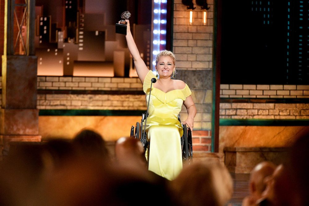 "Ali Stroker accepts the Best Performance by an Actress in a Featured Role in a Musical award for Rodgers & Hammerstein's ""Oklahoma!"" onstage during the 2019 Tony Awards at Radio City Music Hall on June 9, 2019 in New York City. (Theo Wargo/Getty Images for Tony Awards Productions)"
