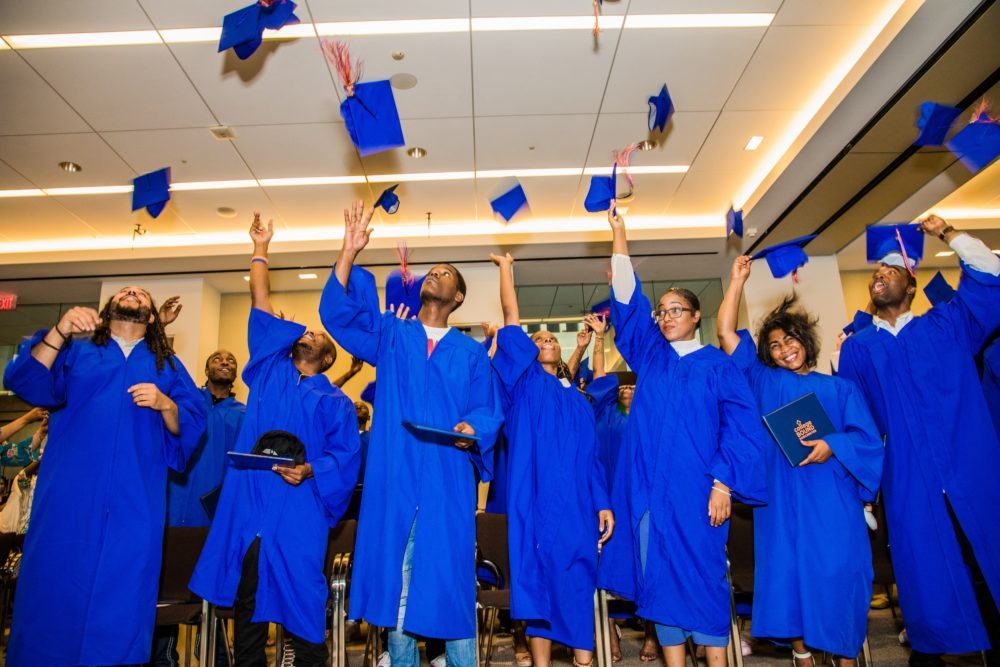 A photo from College Bound Dorchester's annual matriculation ceremony, which celebrates students who have passed their HiSet and are starting college. (courtesy Romana Vysatova)