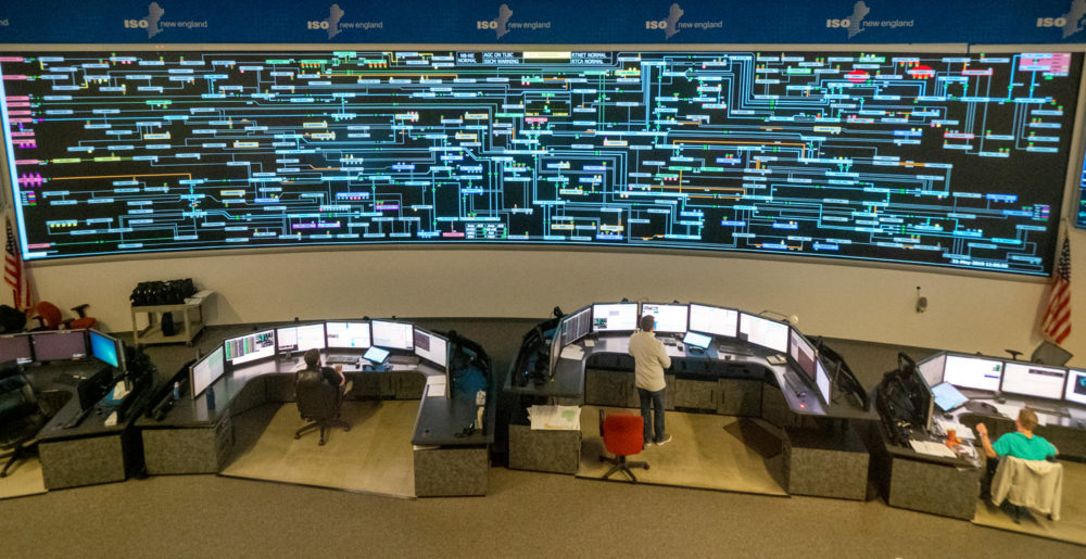 A view of ISO New England's control room in Holyoke. The massive digital display is a real-time image of the region's power grid. (Courtesy of ISO New England)