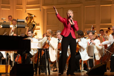 Jane Lynch with the Boston Pops on Tuesday (Courtesy Michael Blanchard)