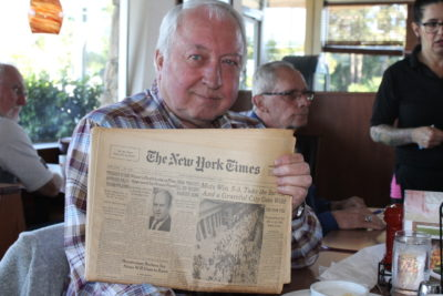 Jerry Koosman brought a copy of the New York Times from the Mets' championship. (Courtesy Erik Sherman)