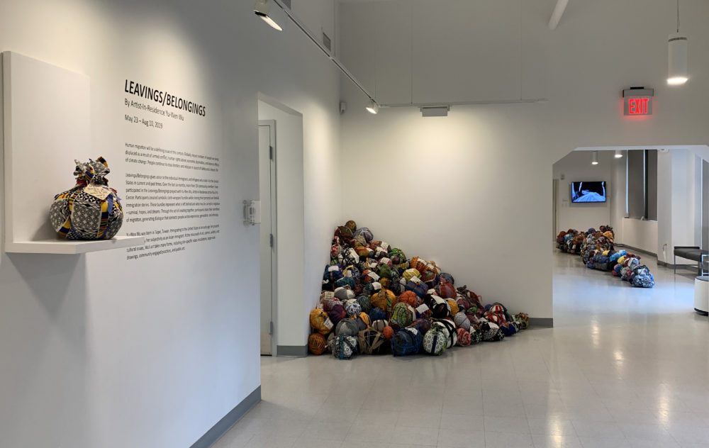 """A view of Yu-Wen Wu's exhibition """"Leavings/Belongings"""" at the Pao Arts Center. (Courtesy)"""