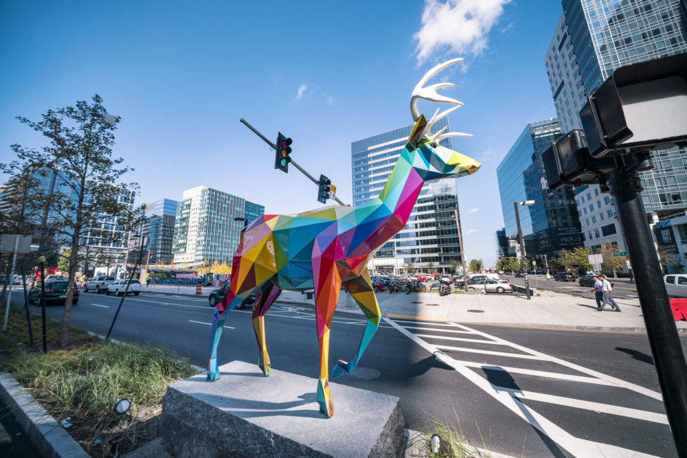 """A deer, titled """"Diversity: Wild,"""" is one of seven installations by artist Okuda San Miguel in Boston's Seaport District. (Courtesy Just Kids)"""
