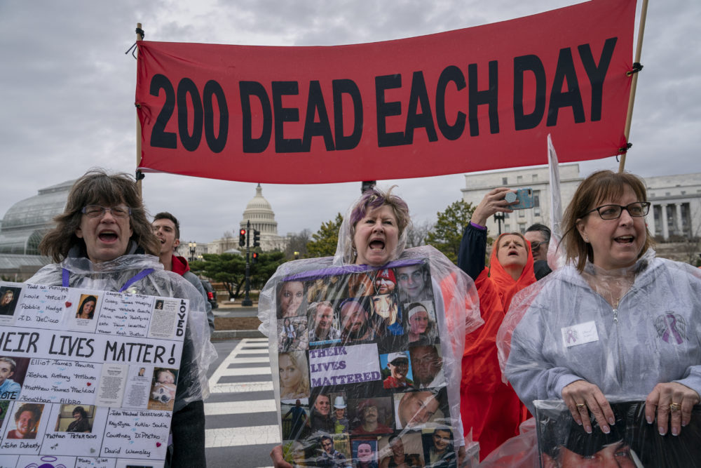 Demonstrators protest the Food and Drug Administration's policies related to pharmaceutical opioids at a rally in front of the Health and Human Services headquarters in Washington, Friday, April 5, 2019. (J. Scott Applewhite/AP)
