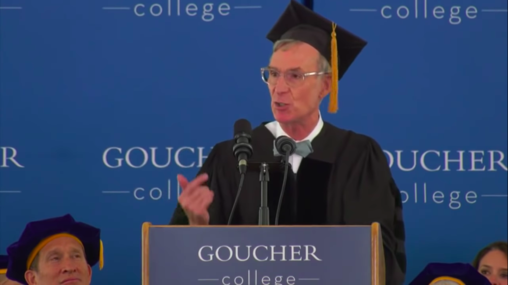 "Bill Nye, ""the science guy,"" delivers the 2019 commencement speech at Goucher College in Towson, Maryland. (Screenshot via YouTube/Goucher College)"