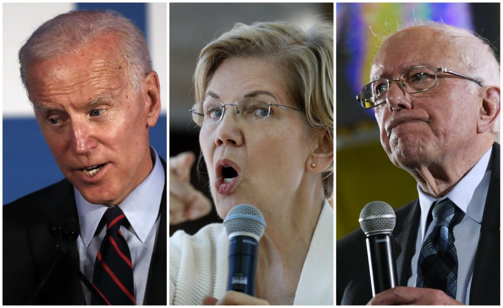 Candidates for the Democratic presidential nomination: former Vice President Joe Biden, Mass. Senator Elizabeth Warren and Vermont Senator Bernie Sanders.
