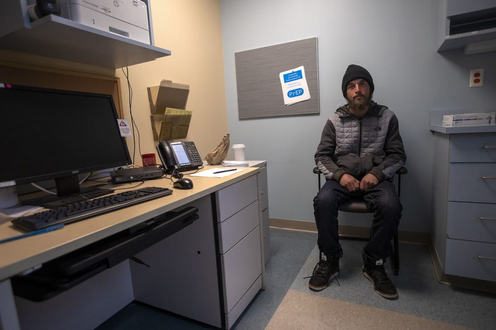 Cody waits in an exam room at Boston Health Care for the Homeless. (Jesse Costa/WBUR)