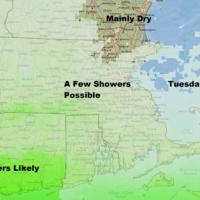 Steadiest rain will be south tomorrow. (Dave Epstein/WBUR)