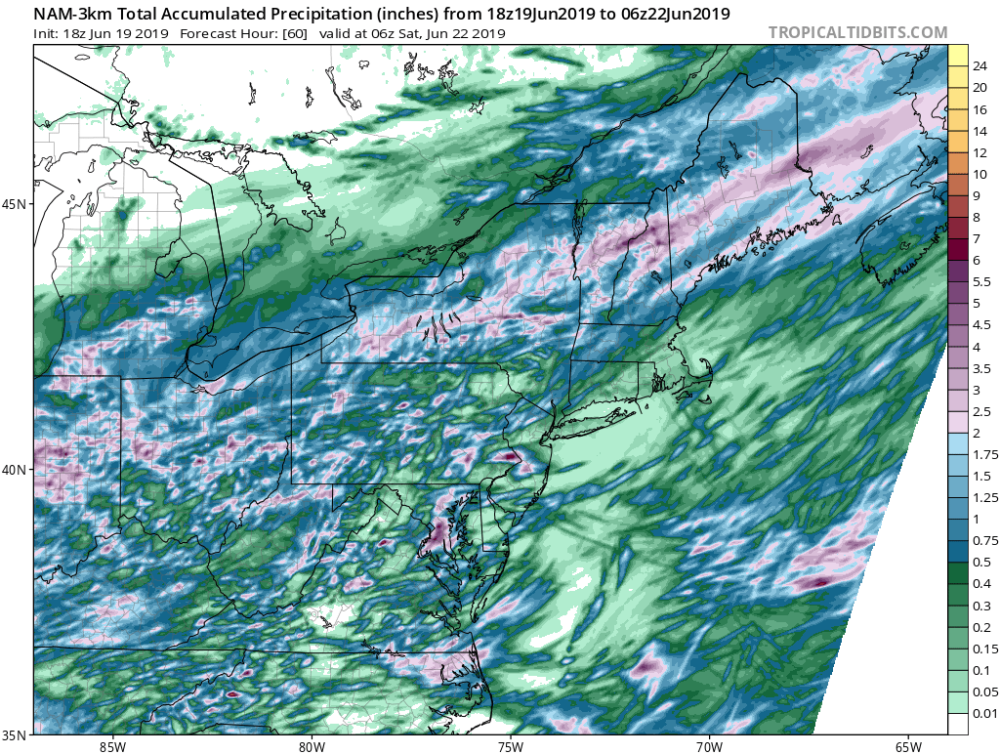 Rainfall will be heaviest north of Boston Thursday into Friday morning. (Courtesy Tropical Tidbits)