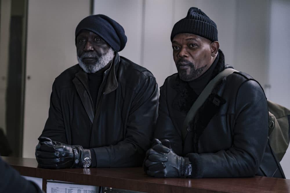 "Richard Roundtree and Samuel L. Jackson in ""Shaft."" (Kyle Kaplan/Courtesy of Warner Bros.)"