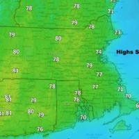 Highs Saturday reach the mid-70s to near 80. (Dave Epstein/WBUR)
