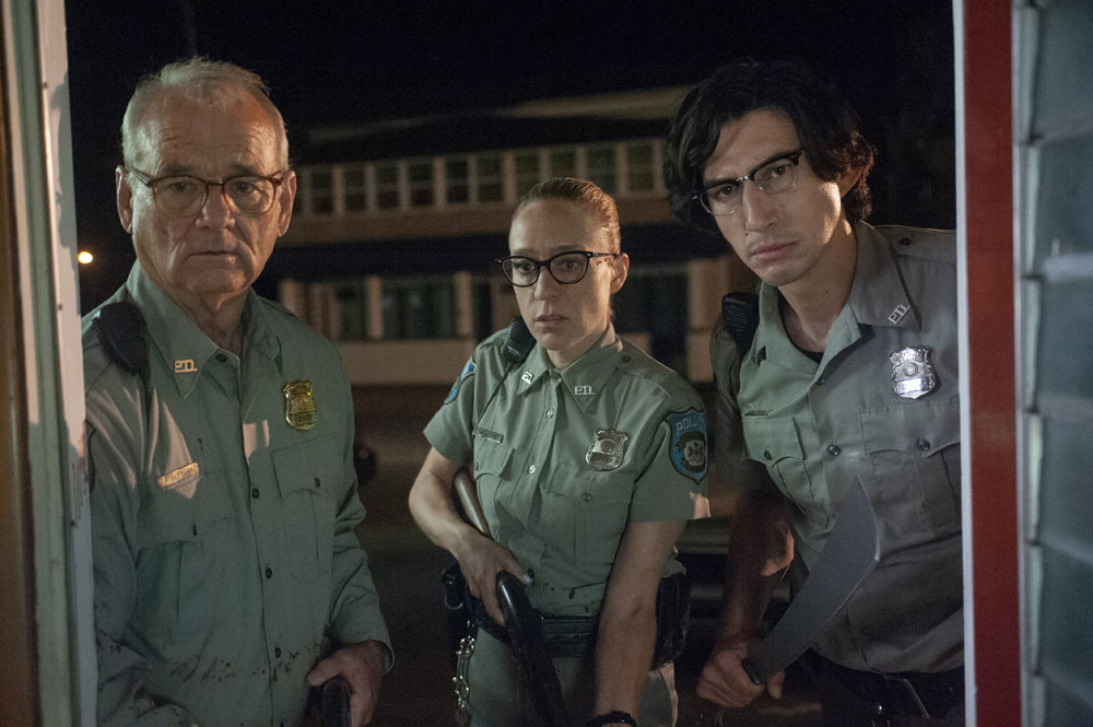 """Bill Murray (left), Chloë Sevigny and Adam Driver in """"The Dead Don't Die."""" (Photo by Abbot Genser/Focus Features)"""