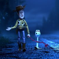 """Woody (voiced by Tom Hanks) with new toy Forky (voiced by Tony Hale) in """"Toy Story 4."""" (Courtesy Disney/Pixar)"""