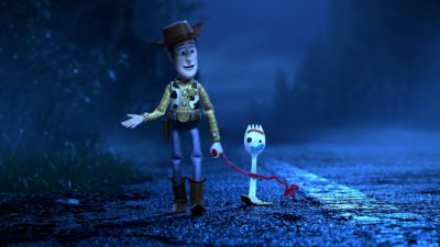 "Woody (voiced by Tom Hanks) with new toy Forky (voiced by Tony Hale) in ""Toy Story 4."" (Courtesy Disney/Pixar)"
