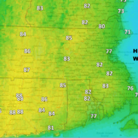 Cooler temperatures along the coast Wednesday are the result of a slight sea breeze. (Dave Epstein/WBUR)