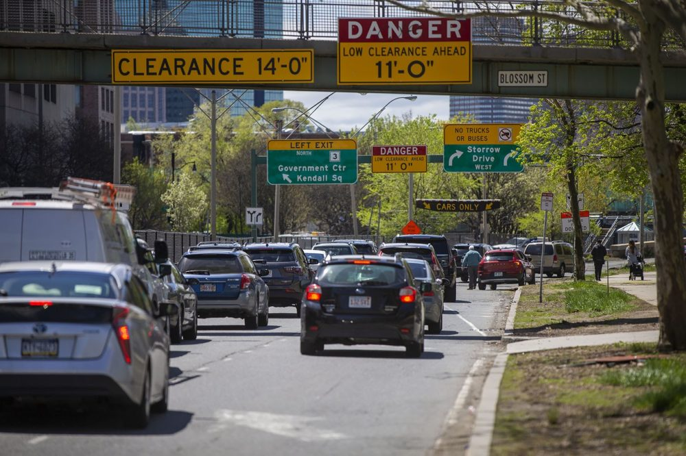 Midday traffic on Storrow Drive on May 6, 2019. (Jesse Costa/WBUR)