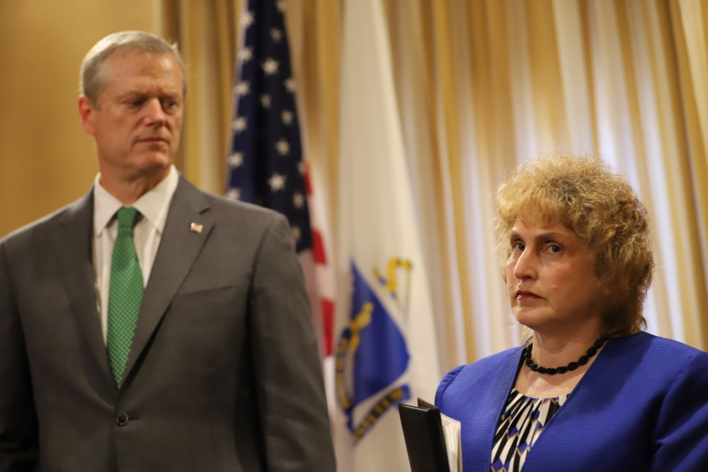 "Transportation Secretary Stephanie Pollack (right) said Monday that the administration is still trying to piece together what led to ""tens of thousands"" of out-of-state driver notifications not being processed since March 2018. (Sam Doran/SHNS)"