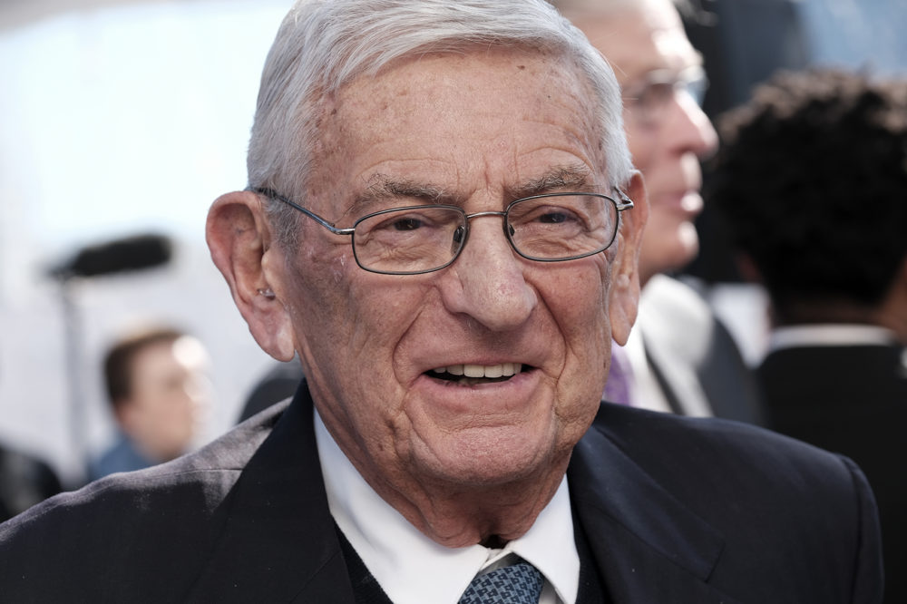 Billionaire philanthropist Eli Broad arrives for a groundbreaking ceremony for The Grand, a long-delayed massive development in downtown Los Angeles. (Richard Vogel/AP)