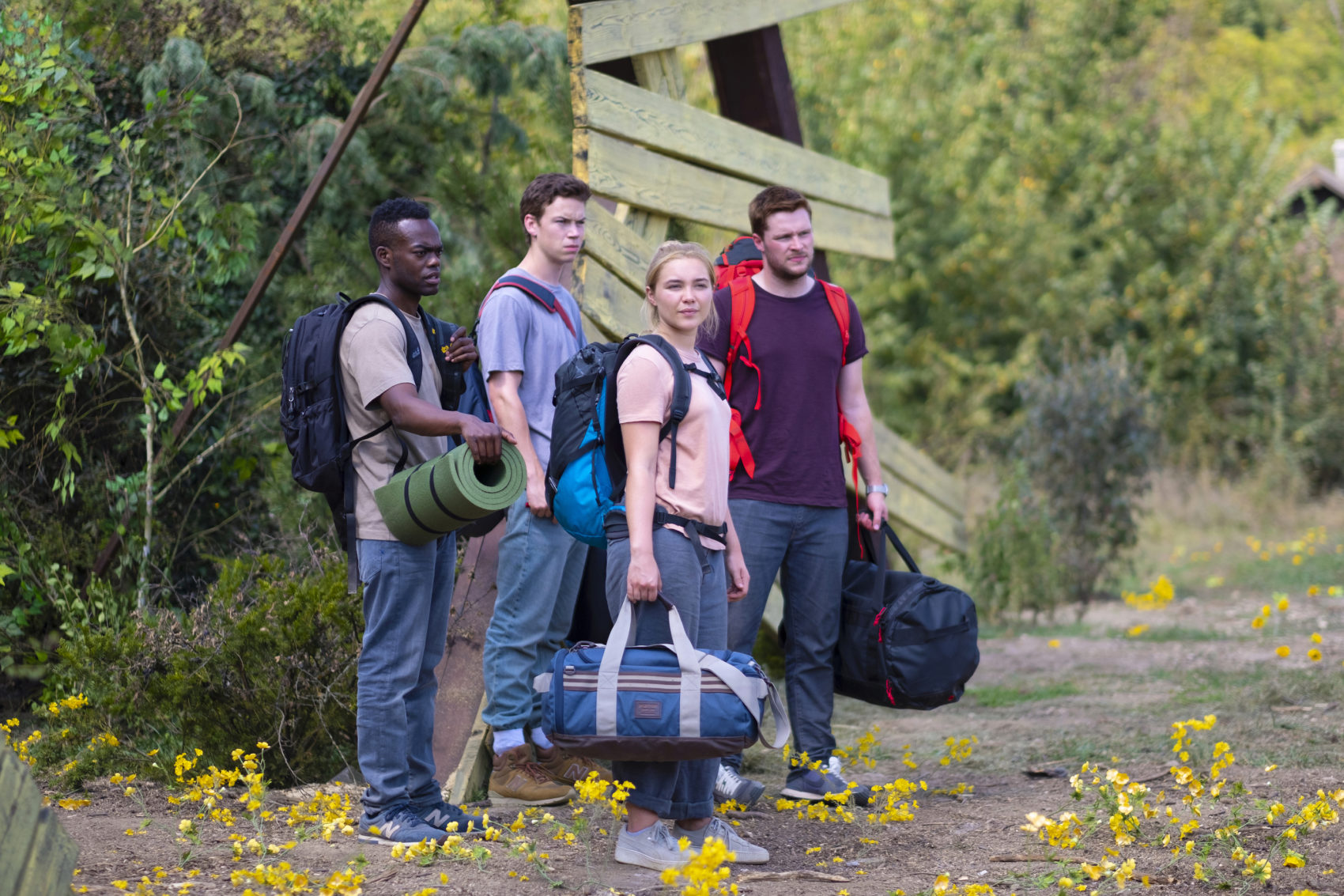 "Left to right: William Jackson Harper, Will Poulter, Florence Pugh and Jack Reynor in Ari Aster's horror film ""Midsommar."" (Courtesy A24)"