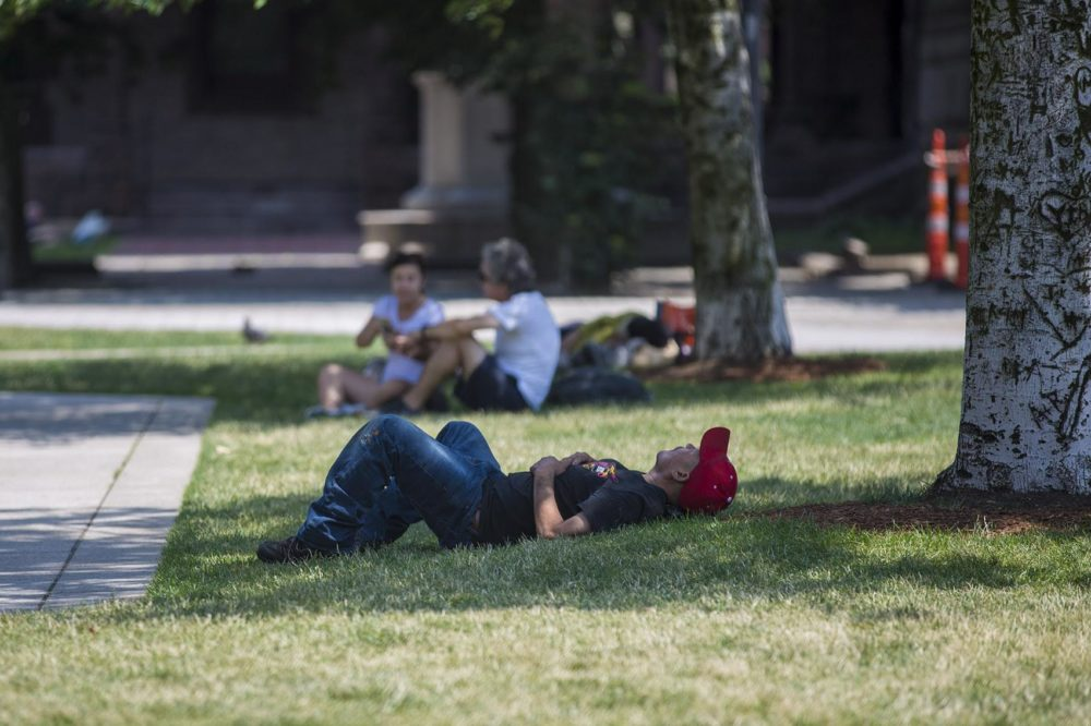 A man lays down in the shade in Boston's Copley Square in this 2018 file photo. (Jesse Costa/WBUR)
