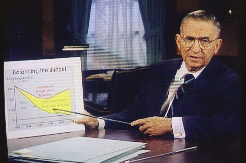 Ross Perot is shown during a paid 30-minute television commercial during his 1992 presidential run as an independent candidate. (AP Photo)