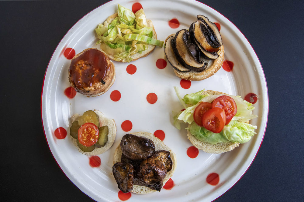 Kathy Gunst's simple vegetarian burgers. (Jesse Costa/WBUR)