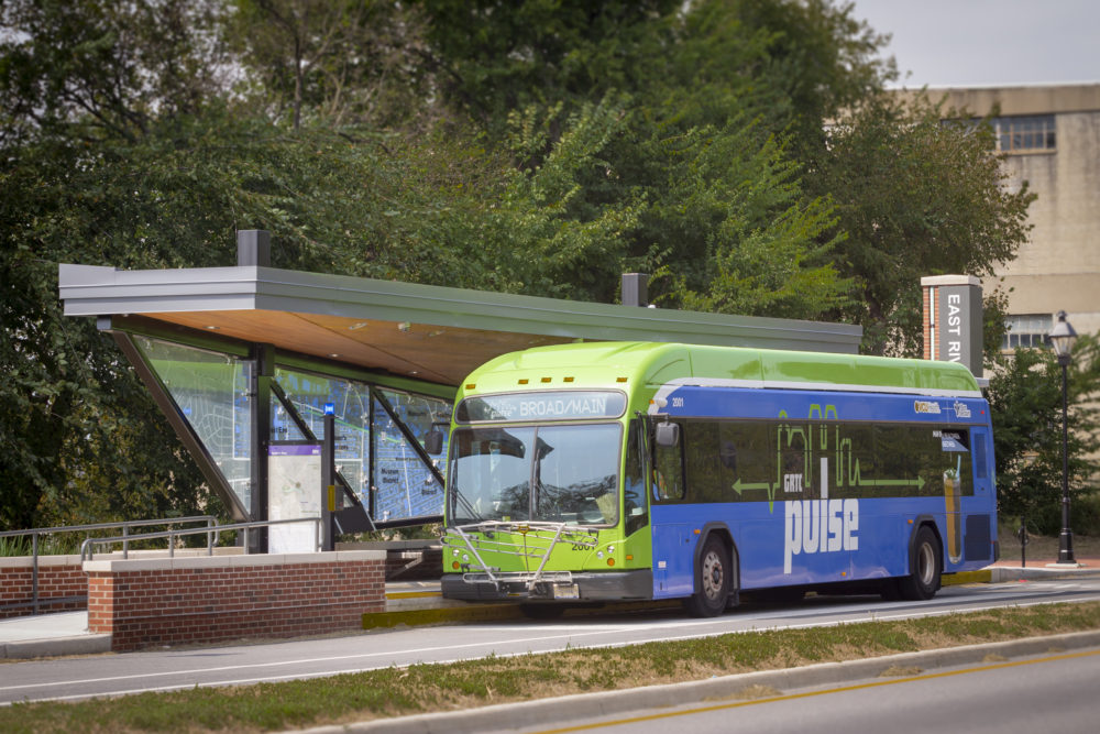 Richmond, Va., has seen a 17% bump in transit ridership in the year since it debuted a new bus rapid transit system called GRTC Pulse. (Courtesy of GRTC Transit System)