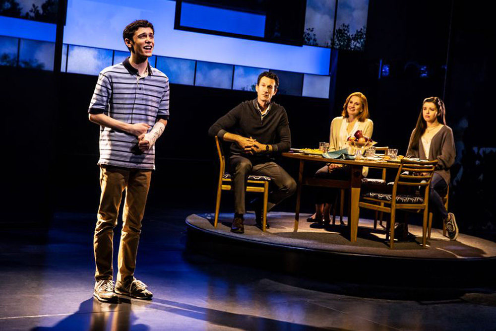 "Ben Levi Ross, Aaron Lazar, Christiane Noll and Maggie McKenna in ""Dear Evan Hansen."" (Courtesy Matthew Murphy)"