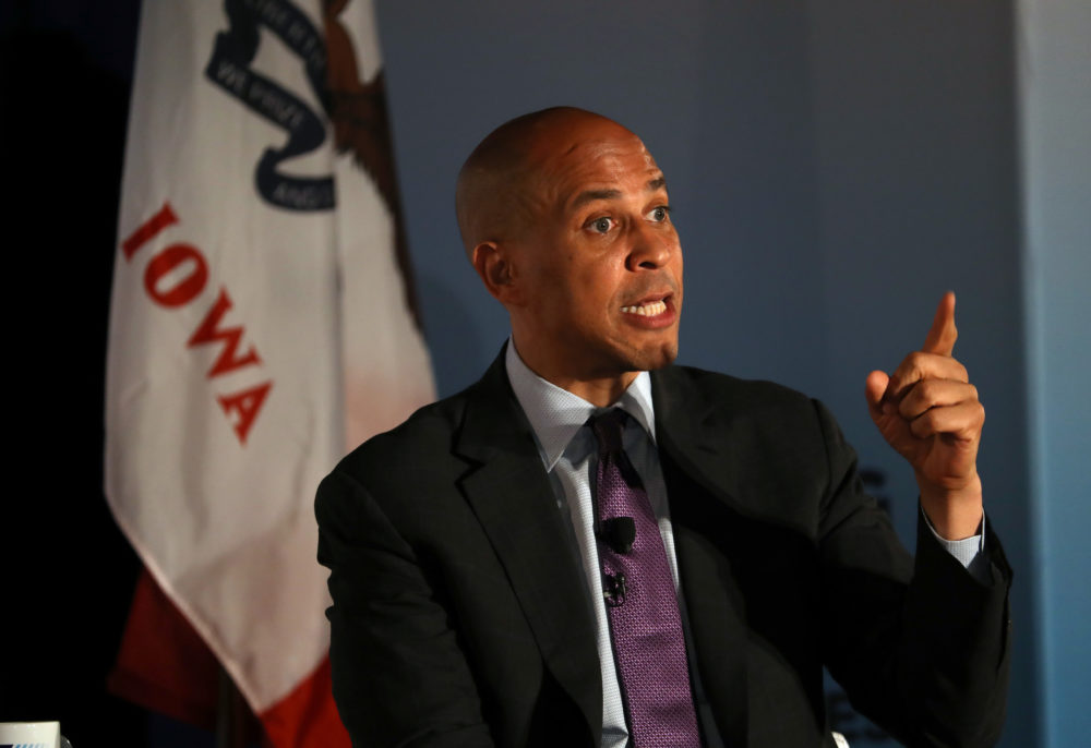 Democratic presidential candidate Sen. Cory Booker (D-N.J.) speaks during a presidential candidate forum at Drake University in Des Moines, Iowa. (Justin Sullivan/Getty Images)