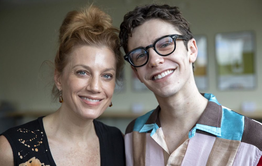Jessica Phillips and Ben Levi Ross at Here & Now. (Robin Lubbock/WBUR)