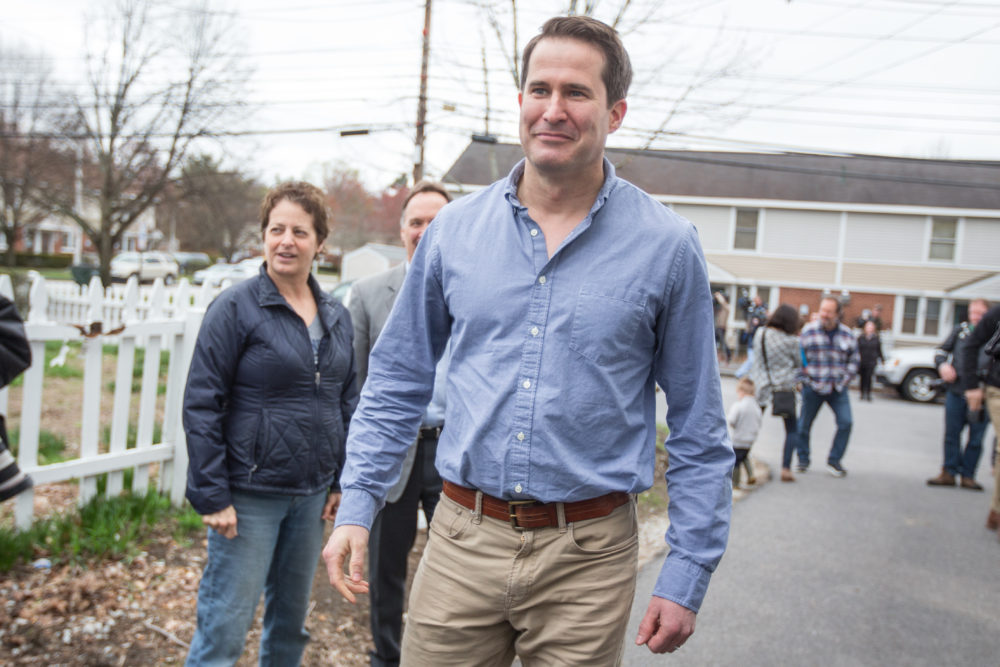 Rep. Seth Moulton (D-Mass.) arrives for a community project and presidential campaign stop in Manchester, N.H. in July. (Scott Eisen/Getty Images)