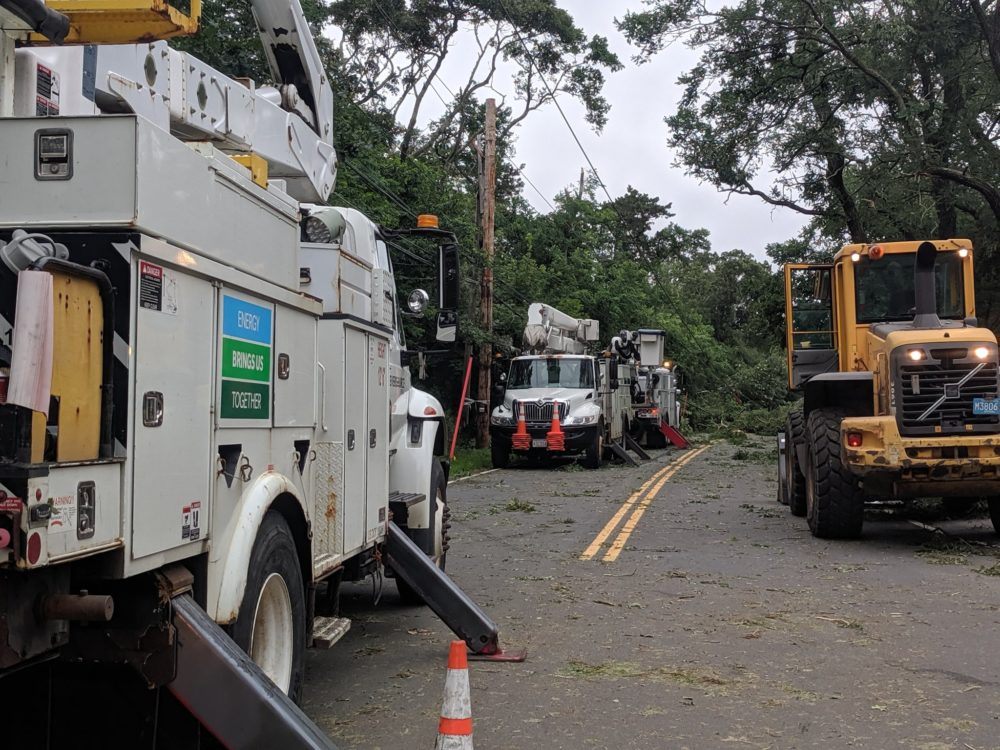 Eversource crews work to restore power in Harwich after severe thunderstorms and a tornado caused damage on Cape Cod on Tuesday. (Courtesy Harwich Police Deptartment)