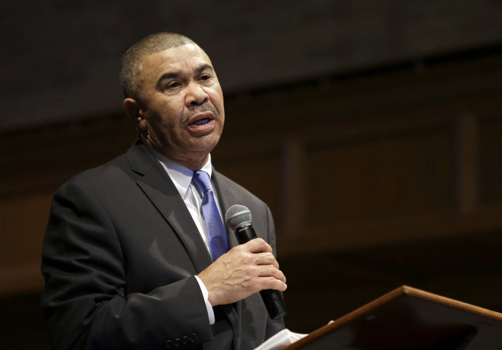 In this Jan. 18, 2015, file photo, U.S. Rep. William Lacy Clay, D-Mo., speaks during a church service at Wellspring Church in Ferguson, Mo. (Jeff Roberson, File/AP)