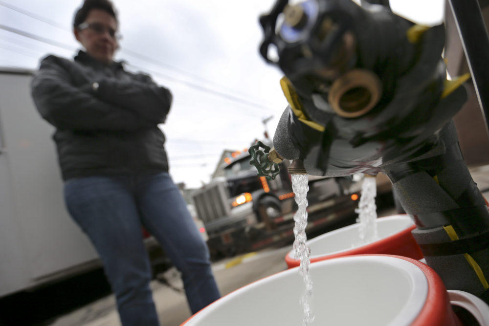 In this 2017 file photo, Ronette Cooley watches as she fills containers with water at a city fire station in the Lawrenceville section of Pittsburgh on Wednesday, Feb. 1, 2017. (Keith Srakocic/AP)