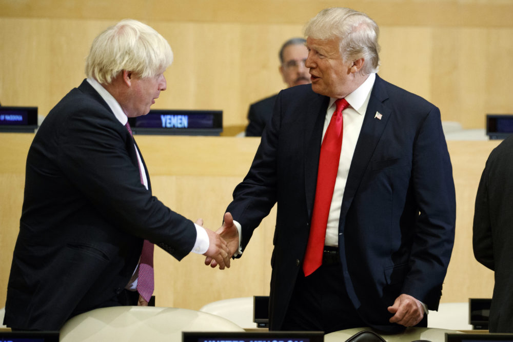 President Trump shakes hands with then British Minister of Foreign Affairs Boris Johnson during a meeting on Sept. 18, 2017, in New York. (Evan Vucci/AP)