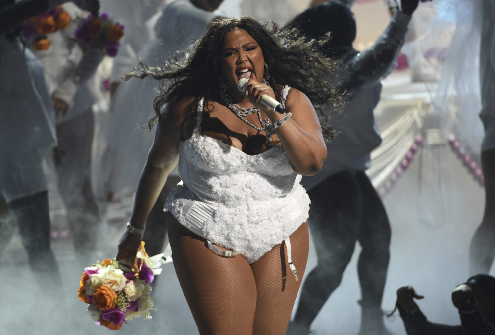 "Lizzo performs ""Truth Hurts"" at the BET Awards on Sunday, June 23, 2019, at the Microsoft Theater in Los Angeles. (Chris Pizzello/Invision/AP)"