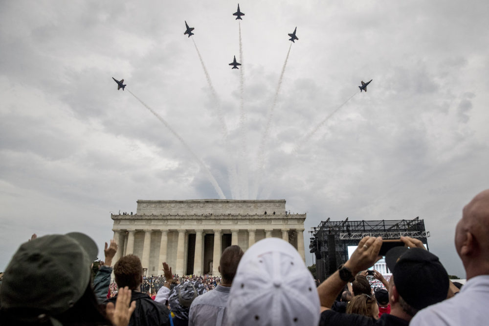 Navy Blue Angels fly over at the conclusion of President Donald Trumps Independence Day celebration in front of the Lincoln Memorial, Thursday, July 4, 2019, in Washington. (Andrew Harnik/AP)