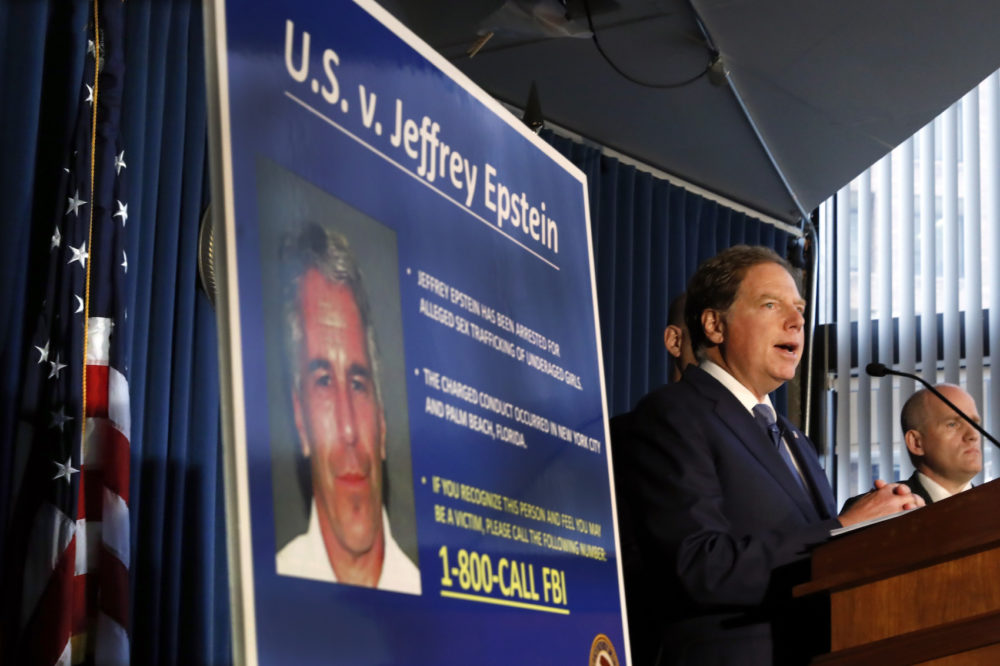 United States Attorney for the Southern District of New York Geoffrey Berman speaks during a news conference, in New York, Monday, July 8, 2019. Federal prosecutors announced sex trafficking and conspiracy charges against wealthy financier Jeffrey Epstein. (Richard Drew/AP)