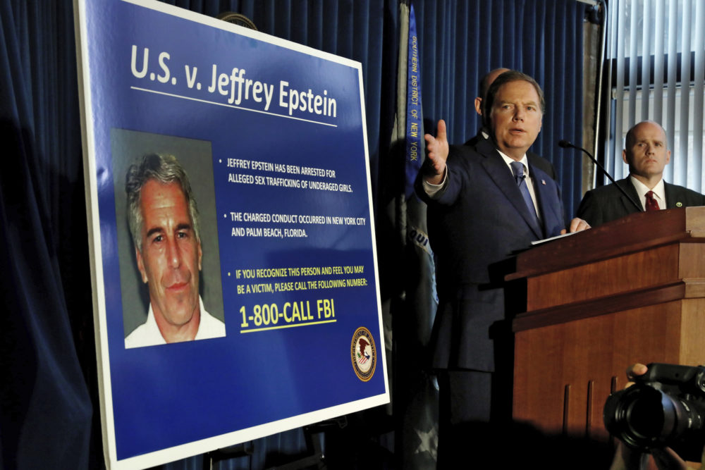 U.S. Attorney for the Southern District of New York Geoffrey Berman speaks during a news conference Monday, where sex trafficking charges were announced against Jeffrey Epstein. (Richard Drew/AP)